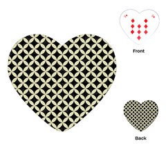 Circles3 Black Marble & Beige Linen Playing Cards (heart) by trendistuff