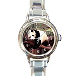 SLEEPING PANDA BEAR ROUND ITALIAN CHARM WATCH