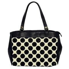 Circles2 Black Marble & Beige Linen (r) Oversize Office Handbag (2 Sides) by trendistuff