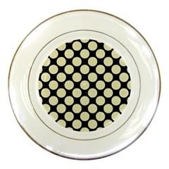 Circles2 Black Marble & Beige Linen Porcelain Plate by trendistuff
