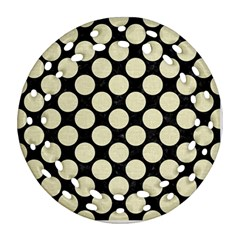 Circles2 Black Marble & Beige Linen Ornament (round Filigree) by trendistuff