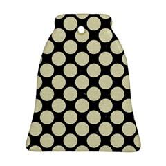 Circles2 Black Marble & Beige Linen Ornament (bell) by trendistuff