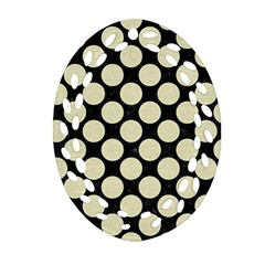 Circles2 Black Marble & Beige Linen Oval Filigree Ornament (two Sides) by trendistuff