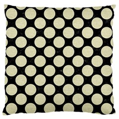 Circles2 Black Marble & Beige Linen Large Flano Cushion Case (one Side) by trendistuff