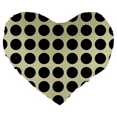 Circles1 Black Marble & Beige Linen (r) Large 19  Premium Flano Heart Shape Cushion by trendistuff