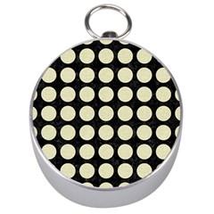 Circles1 Black Marble & Beige Linen Silver Compass by trendistuff