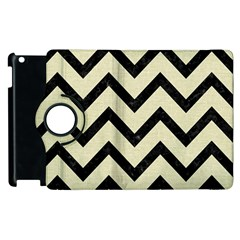 Chevron9 Black Marble & Beige Linen (r) Apple Ipad 3/4 Flip 360 Case by trendistuff