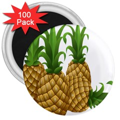 Pineapples Tropical Fruits Foods 3  Magnets (100 Pack)