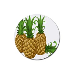 Pineapples Tropical Fruits Foods Rubber Round Coaster (4 Pack)
