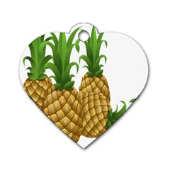 Pineapples Tropical Fruits Foods Dog Tag Heart (two Sides)