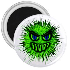 Monster Green Evil Common 3  Magnets by Nexatart
