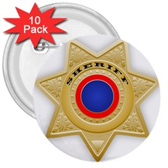 Sheriff S Star Sheriff Star Chief 3  Buttons (10 Pack)  by Nexatart