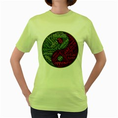 Tao Duality Binary Opposites Women s Green T Shirt