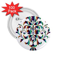 Damask Decorative Ornamental 2 25  Buttons (100 Pack)