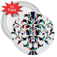 Damask Decorative Ornamental 3  Buttons (10 Pack)