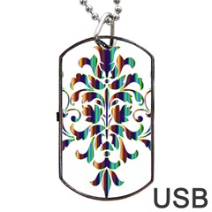 Damask Decorative Ornamental Dog Tag Usb Flash (one Side)