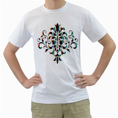 Damask Decorative Ornamental Men s T-Shirt (White)