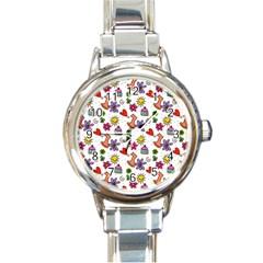 Doodle Pattern Round Italian Charm Watch
