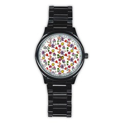 Doodle Pattern Stainless Steel Round Watch