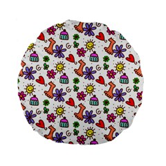 Doodle Pattern Standard 15  Premium Flano Round Cushions by Nexatart