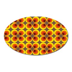 Seventies Hippie Psychedelic Circle Oval Magnet by Nexatart
