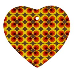 Seventies Hippie Psychedelic Circle Heart Ornament (two Sides) by Nexatart