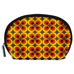 Seventies Hippie Psychedelic Circle Accessory Pouches (large)  by Nexatart
