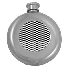 Diamond Black White Shape Abstract Round Hip Flask (5 oz)