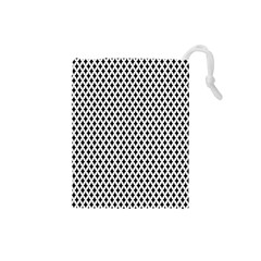Diamond Black White Shape Abstract Drawstring Pouches (small)
