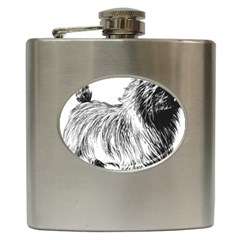 Cairn Terrier Greyscale Art Hip Flask (6 oz) by TailWags