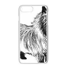 Cairn Terrier Greyscale Art Apple iPhone 7 Plus White Seamless Case by TailWags