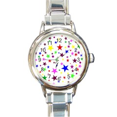 Stars Pattern Background Colorful Red Blue Pink Round Italian Charm Watch
