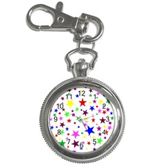 Stars Pattern Background Colorful Red Blue Pink Key Chain Watches by Nexatart