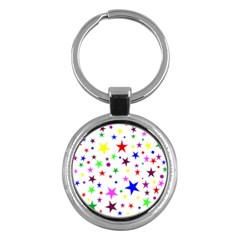 Stars Pattern Background Colorful Red Blue Pink Key Chains (round)  by Nexatart