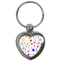 Stars Pattern Background Colorful Red Blue Pink Key Chains (heart)