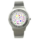 Stars Pattern Background Colorful Red Blue Pink Stainless Steel Watch Front