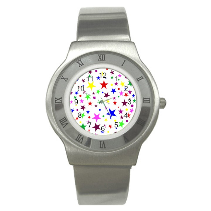 Stars Pattern Background Colorful Red Blue Pink Stainless Steel Watch