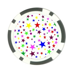 Stars Pattern Background Colorful Red Blue Pink Poker Chip Card Guard by Nexatart