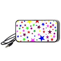 Stars Pattern Background Colorful Red Blue Pink Portable Speaker (black) by Nexatart