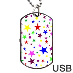 Stars Pattern Background Colorful Red Blue Pink Dog Tag Usb Flash (one Side)