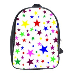 Stars Pattern Background Colorful Red Blue Pink School Bags (xl)