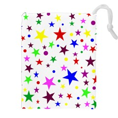 Stars Pattern Background Colorful Red Blue Pink Drawstring Pouches (xxl) by Nexatart