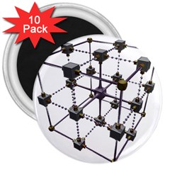 Grid Construction Structure Metal 3  Magnets (10 pack)