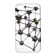 Grid Construction Structure Metal Apple Iphone 4/4s Hardshell Case With Stand by Nexatart