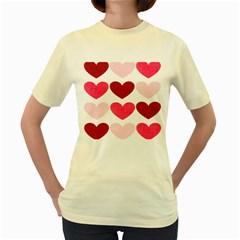 Valentine S Day Hearts Women s Yellow T Shirt by Nexatart