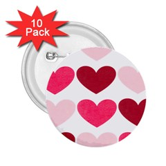 Valentine S Day Hearts 2 25  Buttons (10 Pack)  by Nexatart