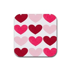 Valentine S Day Hearts Rubber Coaster (square)