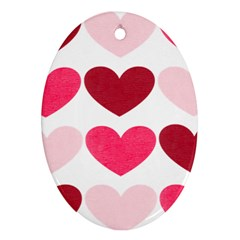Valentine S Day Hearts Oval Ornament (two Sides) by Nexatart