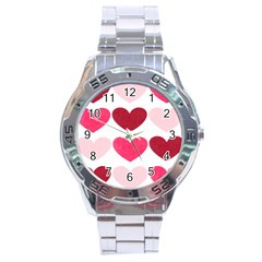 Valentine S Day Hearts Stainless Steel Analogue Watch by Nexatart