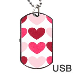 Valentine S Day Hearts Dog Tag Usb Flash (two Sides)